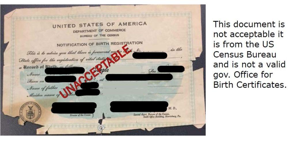 Proof of Identity - Birth Certificate Examples - Senator Bob